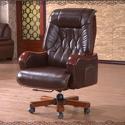 Reclining Backrest Office Chair With Wood Footbase Image 4