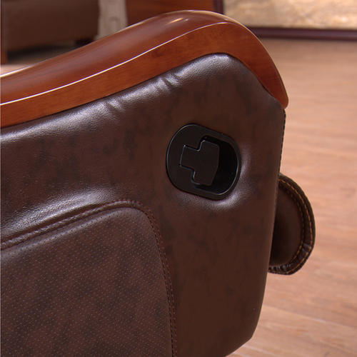 Reclining Backrest Office Chair With Wood Footbase Image 6