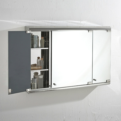 Stainless Steel Multiple Shelves Mirror Cabinet