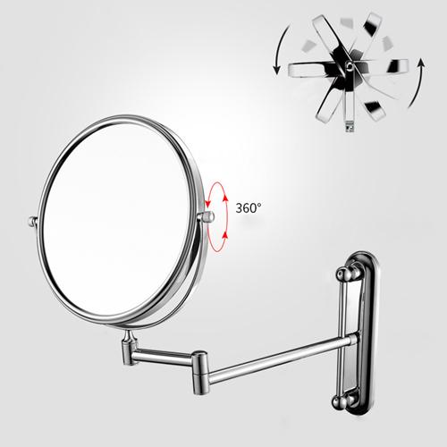 Telescopic Adjustable Round Wall Mount Mirror