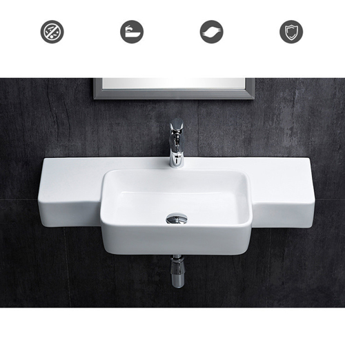 Rectangular Ceramic Wall-Mounted Washbasin