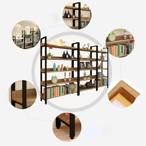 Steel Wood Shelf Display Bookshelf Image 6
