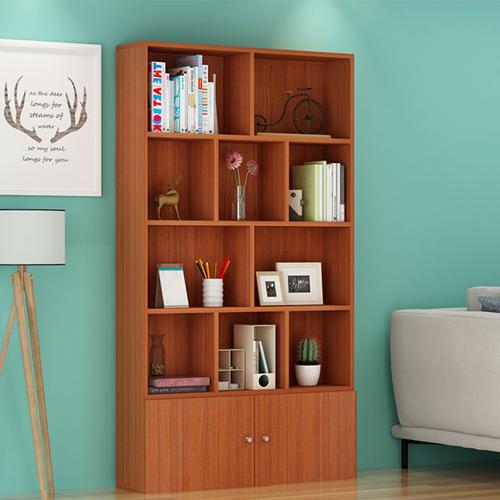 Lattice Wooden Storage Cabinet with Door Bookcase Image 9