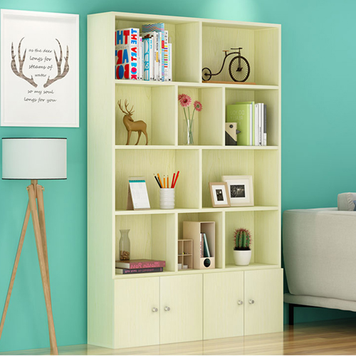 Lattice Wooden Storage Cabinet with Door Bookcase Image 11