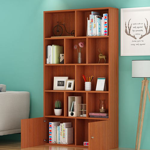 Lattice Wooden Storage Cabinet with Door Bookcase Image 12