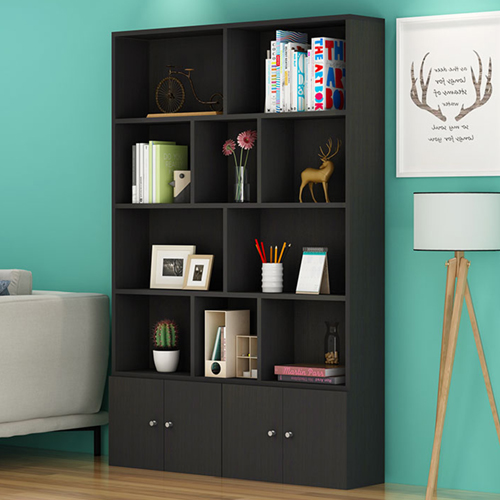 Lattice Wooden Storage Cabinet with Door Bookcase Image 15