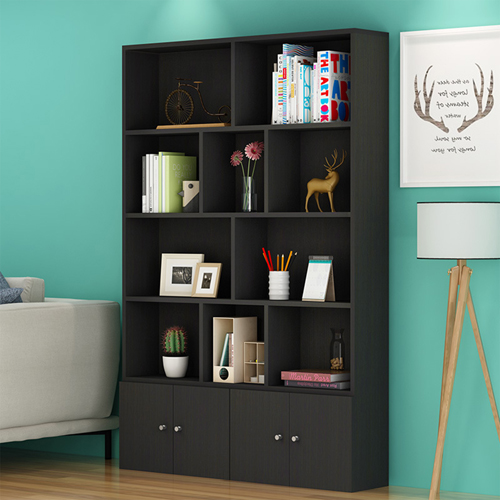 Lattice Wooden Storage Cabinet with Door Bookcase Image 1