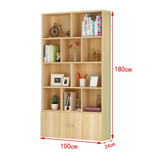 Lattice Wooden Storage Cabinet with Door Bookcase Image 19