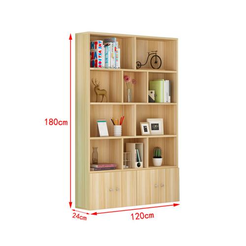 Lattice Wooden Storage Cabinet with Door Bookcase Image 20