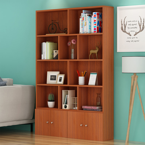 Lattice Wooden Storage Cabinet with Door Bookcase Image 3