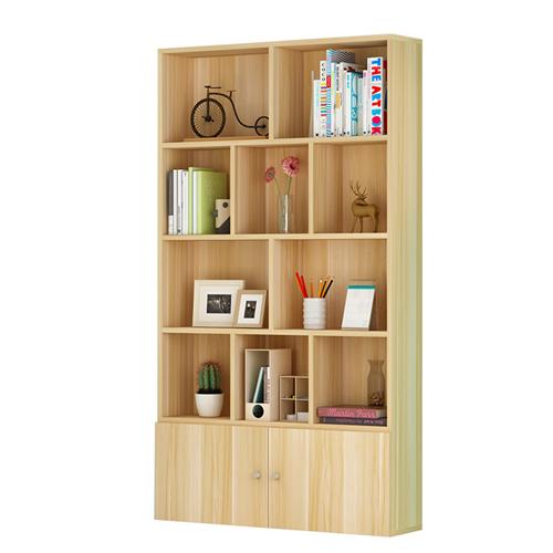 Lattice Wooden Storage Cabinet with Door Bookcase Image 4