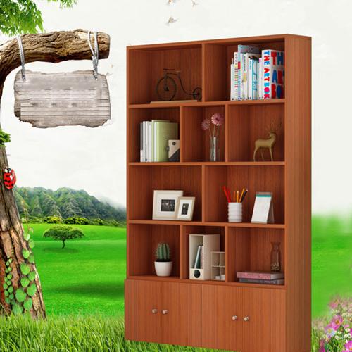 Lattice Wooden Storage Cabinet with Door Bookcase Image 5