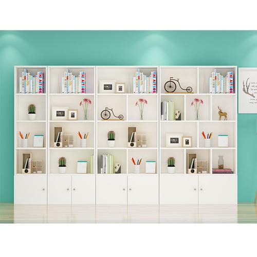 Lattice Wooden Storage Cabinet with Door Bookcase Image 6