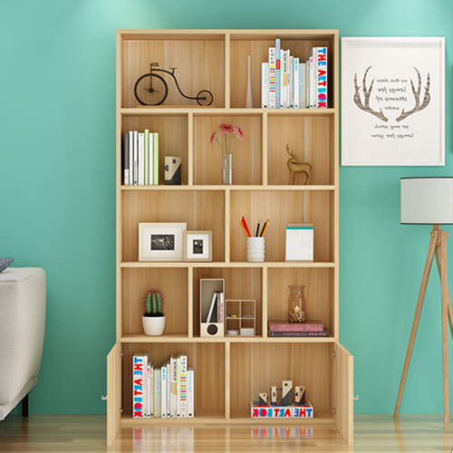 Lattice Wooden Storage Cabinet with Door Bookcase Image 7