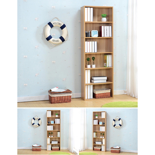 Wooden 6th Floor Plaid Storage Bookcase Image 10