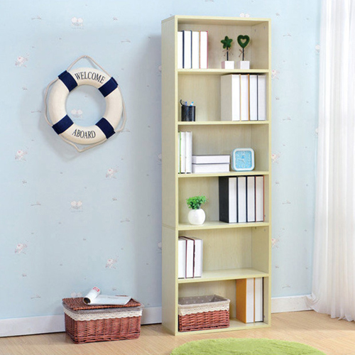 Wooden 6th Floor Plaid Storage Bookcase Image 6