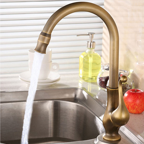 Antique Brushed Swivel Kitchen Faucet