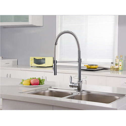 Spring Single Handle Faucet with Pull Down Sprayer