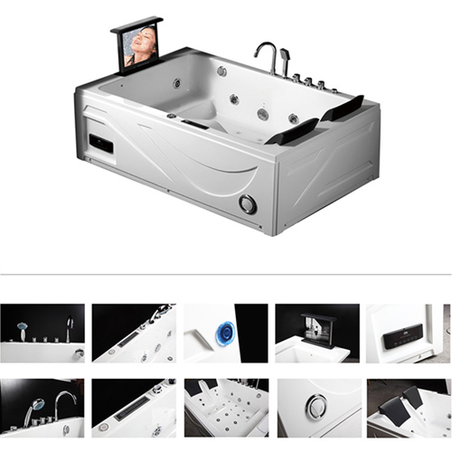 Double Freestanding Whirlpool Bathtub with TV