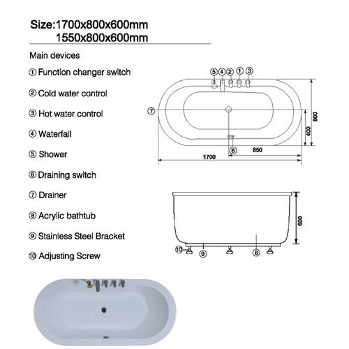 Symmetric Oval Freestanding Bathtub