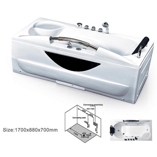 Midocean Rectangle Acrylic Massage Bathtub