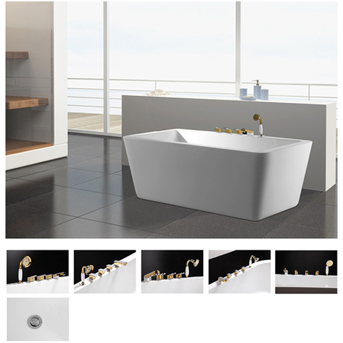 Free-Standing Solid Surface Acrylic Bathtub