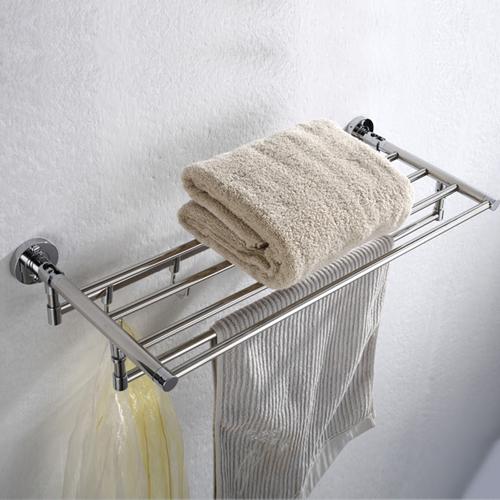 Brushed Finish Foldable Double Towel Rack