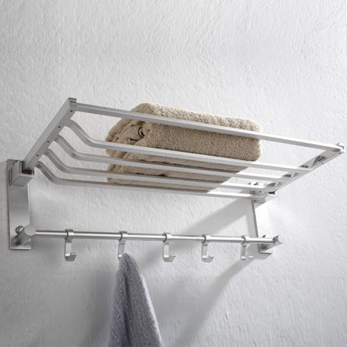 Aluminum Folding Towel Rack With Hook
