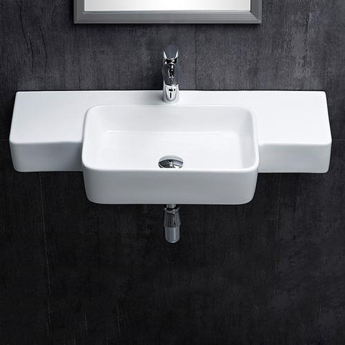 Rectangular Ceramic Wall-Mounted Wash Basin