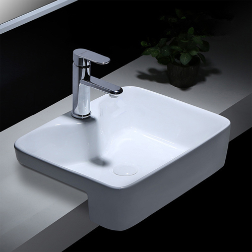 Square Half-Hung Ceramic Counter Basin
