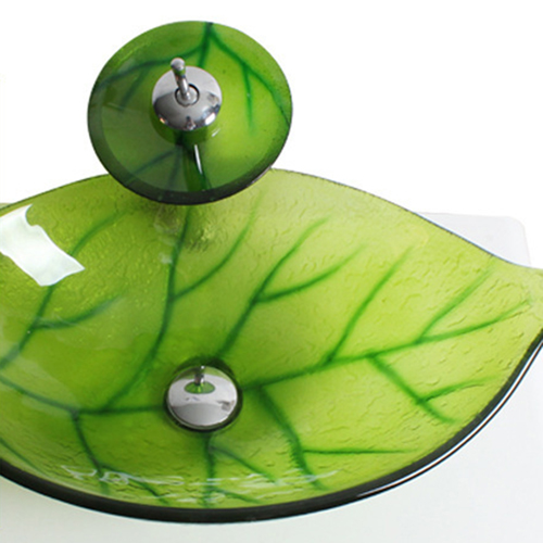Leaf-Shaped Glass Above Counter Basin