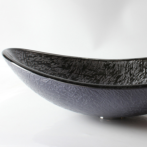 Boat-Shaped Glass Counter Top Wash Basin
