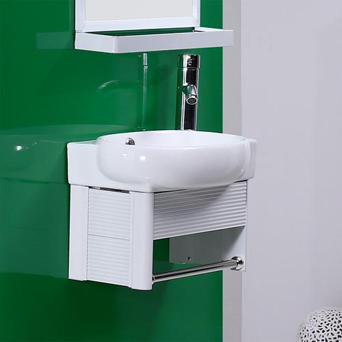 Ceramic Hanging Basin With Aluminum Cabinet