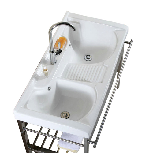 Double Stainless Steel Bracket Ceramic Washbasin