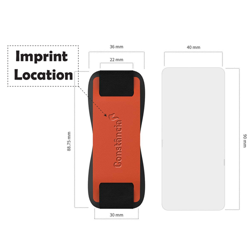 Promotional Leather Mobile Phone Grip Strap Imprint Image