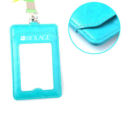 Leather Slim ID Card Holder with Lanyard Image 1