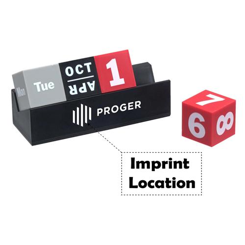 Cubes Perpetual Desk Calendar Imprint Image