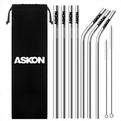 Trendy Stainless Steel Drinking Straw Set
