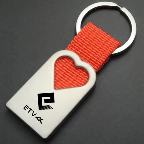 Custom Woven Fabric Metal Keychain Image 4