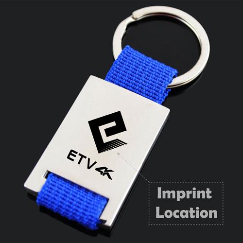 Custom Woven Fabric Metal Keychain Imprint Image