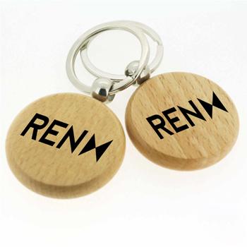 سلسلة مفاتيح خشبية مستديرة الشكل