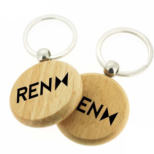 Round Shape Wooden Keychain Image 1