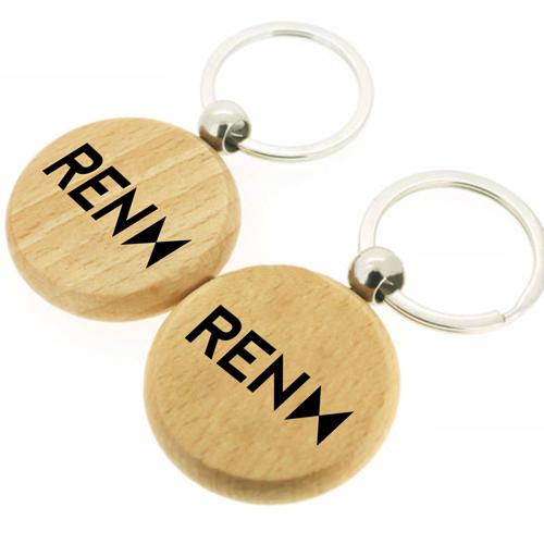 Round Shape Wooden Keychain Image 3