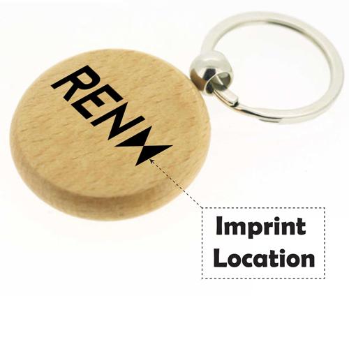 Round Shape Wooden Keychain Imprint Image