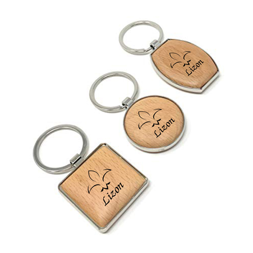 Rounded Corner Wooden Keychain Image 8
