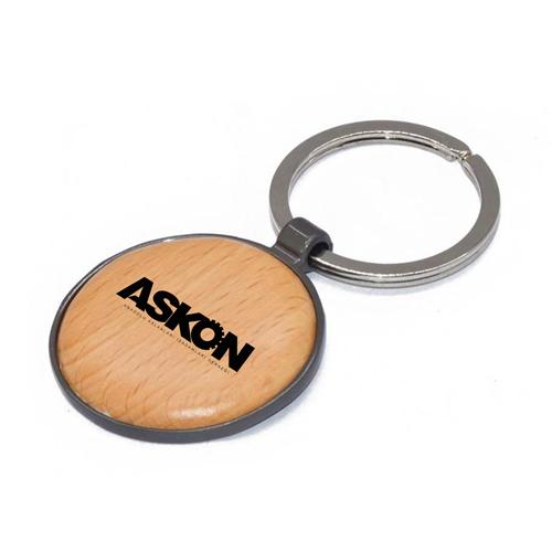 Round Assorted Frame Wooden Keychain
