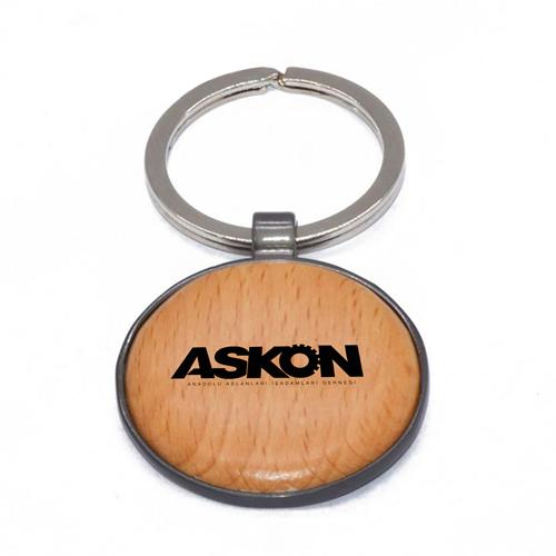 Round Assorted Frame Wooden Keychain Image 3