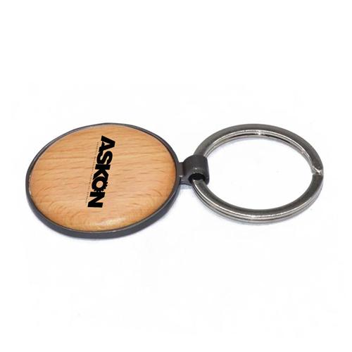 Round Assorted Frame Wooden Keychain Image 4