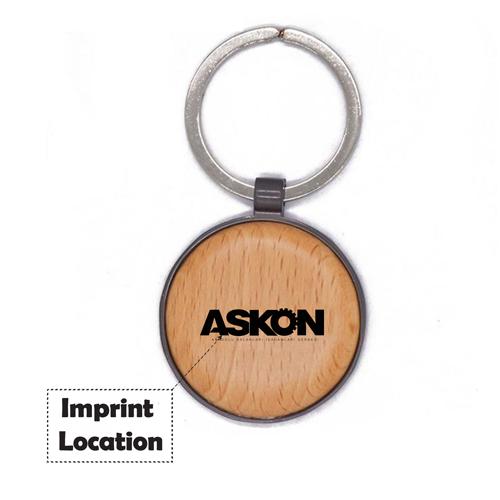 Round Assorted Frame Wooden Keychain Imprint Image