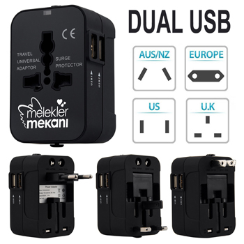 International Travel Adapter with Dual USB Ports